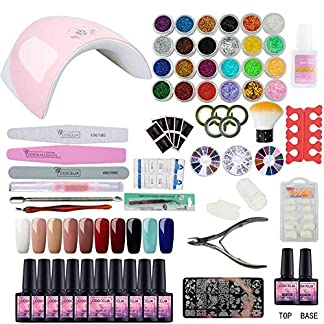 Saint-Acior 10pcs Kit Uñas de Gel Pintauñas Esmalte de Uñas Soak off 8ml Nail Dryer 36W UV/LED Lámpara Uñas Secador de Uñas Top Coat Base Coat Manicura Kit