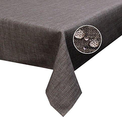 Tischdecke taupe braun 135x180cm Oval Lotuseffekt, abwaschbar, Schmutz- und Wasserabweisend, eckig - Größe, Farbe & Form wählbar (Rund Eckig Oval)