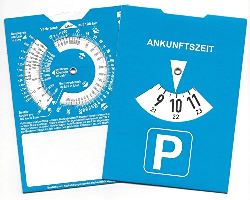Preisvergleich Produktbild Europa Parkscheibe Parkuhr mit Benzinrechner Rückseite neutral ohne Werbung (1)
