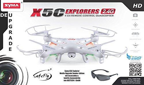 Syma X5C Explorer 2.4 GHz 4-Kanal 3D Quadrocopter Drohne mit Zusatzakku, 360° Flip Funktion, 3.6 MP HD Kamera mit Ton, Motor-STOPP Funktion, 6AXIS Stabilization System, 4GB Micro-SD Speicherkarte und AGETECH SafeFly Sonnenbrille, Weiß - Sonder-Edition - 2