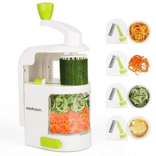 Foto de Cortador de Verduras Sedhoom MultiFunción Alimentos 4 Cuchillas,Espiralizador de Picar Frutas,Verduras,Zanahorias,Cebolla,para la Salsa,Ensalada