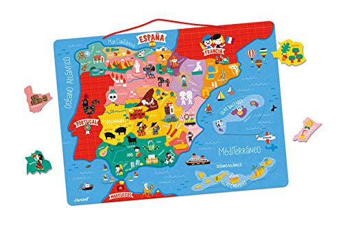 Janod- Magnetic map of Spain 50 Pieces (Wood), (Juratoys J05478)