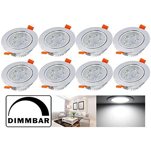 Hengda® 8er Set LED Einbaustrahler Dimmbar Aluminium Einbauleuchte Badleuchten 5W Kaltweiss 230V Einbautiefe Einbauleuchten