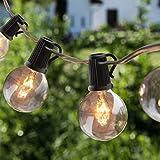 Lichterkette Außen, OxyLED Lichterkette Gluehbirne Aussen,G40 25FT Lichterkette Garten, Wasserdicht (25 Birnen,3 Ersatzbirnen, gelbliches Licht)
