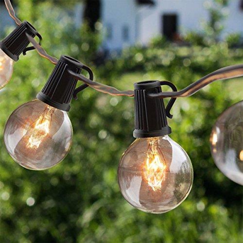 OxyLED Lichterkette Gluehbirne Aussen,G40 25FT Lichterkette Garten, Wasserdicht (25 Birnen,3 Ersatzbirnen, gelbliches Licht) (Außen-lichterketten)