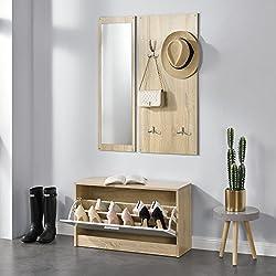 [en.casa]® Conjunto de muebles para pasillo, vestíbulo - Zapatero Espejo Perchero de pared color de madera/blanco