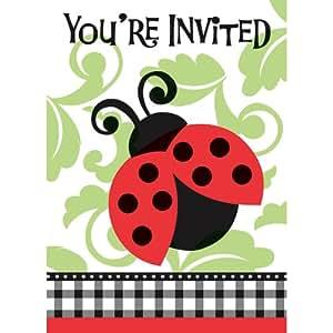 8 cartes d'invitation de fête avec enveloppes Charmantes Coccinelles