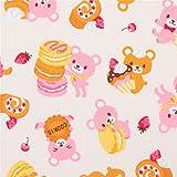 Beiger Baumwollpopeline mit Bären und Süßigkeiten