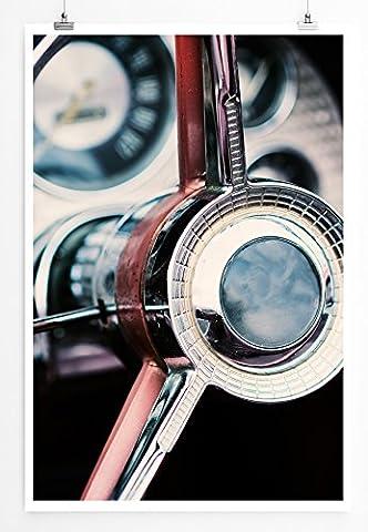 Sinus Art Kunst und Deko Poster - Künstlerische Fotografie – Mahagoni Lenkrad eines Oldtimers- Fotodruck in gestochen scharfer Qualität