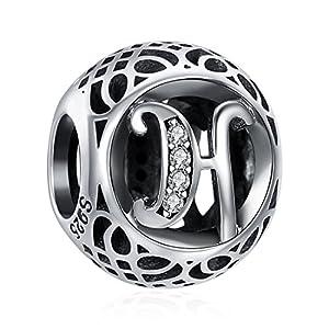 ChicSilver 925 Sterling Silber Alphabet Buchstabe A-Z Charms Initiale Zirkonia Charms Geburtstag Perlen für Armbänder Halsketten