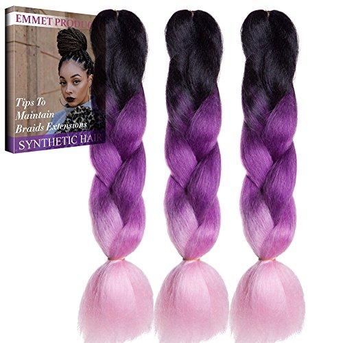 Emmet pendenti completi di estensione dei capelli di 100% di kanekalon del panno di jumbo del pannello esterno 100g/pc ombre sintetici dei capelli 24inch resistenti al caldo