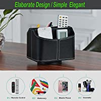 Desktop Remote Control Organizer, SUNKCCI 360-Degree Rotation PU Faux Leather Storage Organizer with 5 Compartments,DVD VCR TV Media Remote Control Cellphone Stand Holder (Black)
