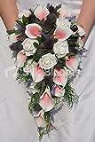 Silk Blooms Ltd Künstliche Calla-Lilie und Distel, Brautstrauß mit Rosen und Blättern, Hellrosa