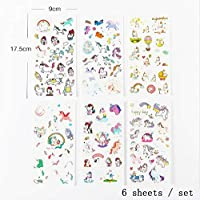 XCVBN Fashion Cartoon Unicorn Stickers For Girls Boys Children Notebook Stickers Decoration Toy Gifts For Kids 6 Sheets 6Pcs