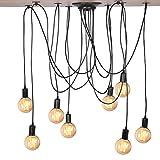 Cocoarm Spinne Kronleuchter DIY Decke Spider Lampe Retro Industry Ceiling Light DYI Vintage Pendelleuchte Speisesaal Schlafzimmer Hotel Dekoration (8 Kopf)