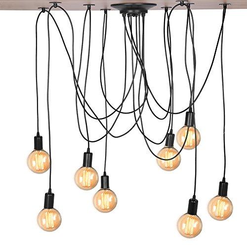 Cocoarm Spinne Kronleuchter DIY Decke Spider Lampe Retro Industry Ceiling Light DYI Vintage Pendelleuchte Speisesaal Schlafzimmer Hotel Dekoration (8 Kopf) - Vintage Retro Dekoration