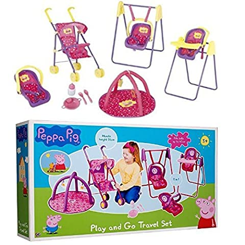 Peppa Pig Play and Go Travel Set Toy Buggy High