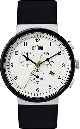 Braun Men's Quartz Watch with White Dial Analogue Display and Black Leather Strap