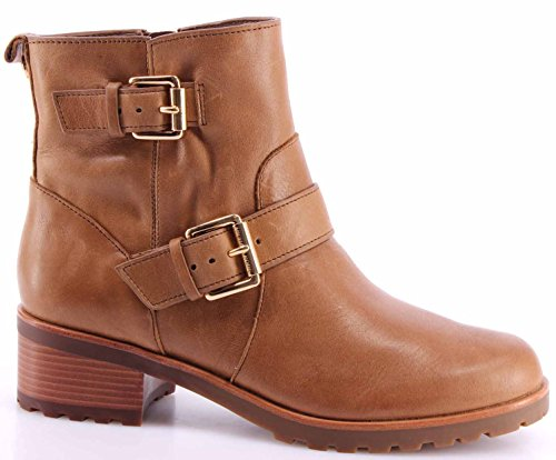 Women's Shoes Ankle Boots MICHAEL KORS Gretchen Bootie Dk Caramel Leather New