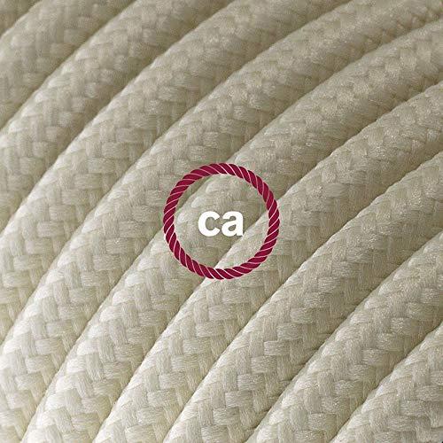 Fil Électrique Rond Gaine De Tissu De Couleur Effet Soie Tissu Uni Ivoire RM00 - 5 mètres, 2x0.75