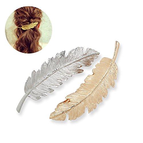 westeng Retro Fashion Blatt Feder Haarspange Legierung Haarspange Haar Clips Seite Clip Pferdeschwanz Clip 2Stück (Golden + Silber) (Girls Clip Auf Charme)