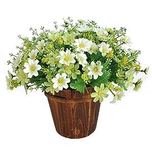 SODIAL 1 Ramo De 28 Cabezas Artificial Flor De La Margarita Falsa Interior Exterior Jardinera Jardín De Bodas Decoración…
