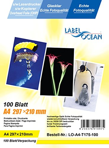 100 Blatt LO-A4-T175-100 A4 Overheadfolie (OHP Transparentfolie Transparentpapier) für s/w...