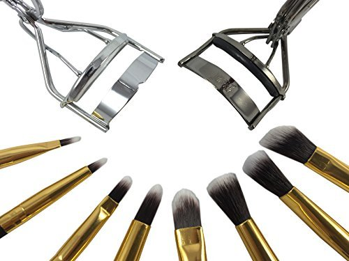 Style S - Maquillage Brush Set avec 2 sans cils curlers- Ombre à paupières, Eyeliner agréable pli - Kit 8 Pinceaux de maquillage essentielles de qualité - Crayon, Shader, conique, Definer - Créer un look zéro défaut.