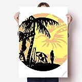 DIYthinker Coconut Tree Beach-Blumen-Illustration Vinylwand-Aufkleber-Plakat-Wand Tapete Raum Aufkleber 80X55Cm 80cm x 55cm Mehrfarbig