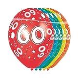 Folat - Luftballons Zahl 60 - 5 Stück heliumgeeignet Allover Print