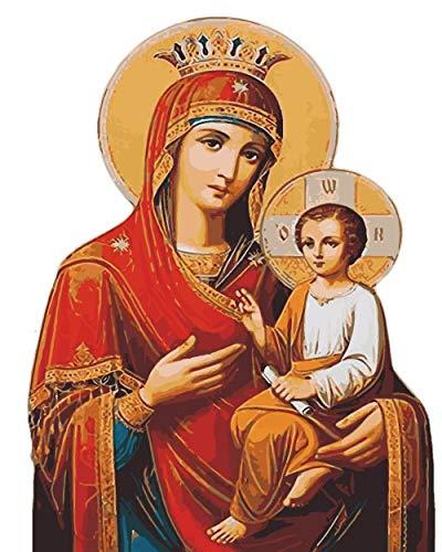 HVJBVIU La Virgen María DIY Pintura por númerosKits de Dibujo Pintura sobre Lienzo Único para el hogar Arte de la Pared Imagen Pintura al óleo a Mano