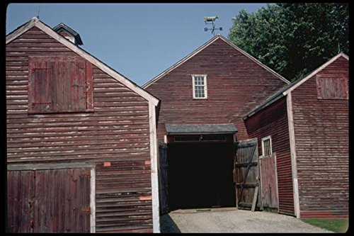 097013 Red Barns And Cow Weathervane A4 Photo Poster Print 10x8 -