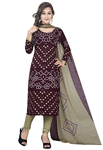 Ishin Women's Synthetic Dress Material Dress Material (Ddrvar-Bp-2071_Brown_Free Size)