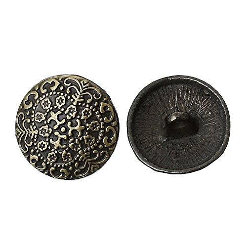 30pcs asmaza (TM) Patrón de flores tallado botones de metal redondo vintage botones álbumes de costura de bronce de 17mm (5/8