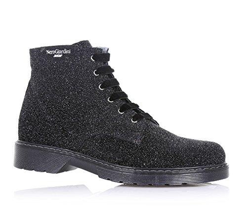 NERO GIARDINI - Botte à lacets noire, en glitter, avec fermeture éclair latérale, logo latéral, lacets en velours, coutures visibles, fille, filles, femme, femmes