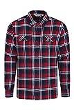 Mountain Warehouse Trace Camicia a Manica Lunga in Flanella Uomo - 100% Cotone, Leggera, Traspirante - Perfetta per Viaggi e Passeggiate Rosso Scuro X-Large