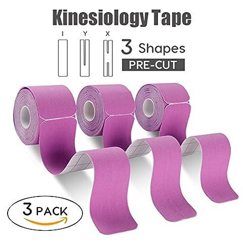 "FriCARE Kinesiology Tape Sport Kinesiologie Klebeband X Y I Form 3 Rollen Set Pro Tensile Elastic Dehnbar 20 Pre-cut, 2""X 10-inch/strip, Therapeutic Athletic K Tape"