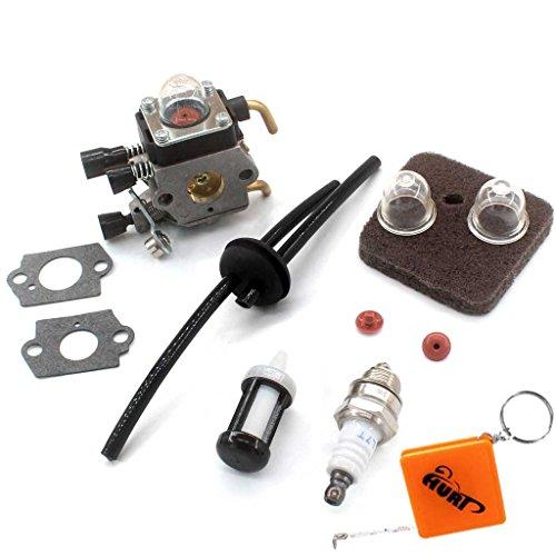 HURI Vergaser + Luftfilter + Benzinschlauch filter + Zündkerze passend für Stihl FS38 FS45 FS46 C FS55 FS55C FS55R FS55T KM55R C1Q-S153 C1Q-S71 C1Q-S143 C1Q-S153 C1Q-S186 C1Q-S186A CIQ S186B Rasentrimmer Carb