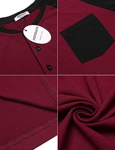 HOTOUCH Herren T-Shirt Slim Fit Basic T-Shirt mit Knopfleiste Henley Shirt Casual Shirt 3/4 Raglen-Ärmel Typ1_Weinrot