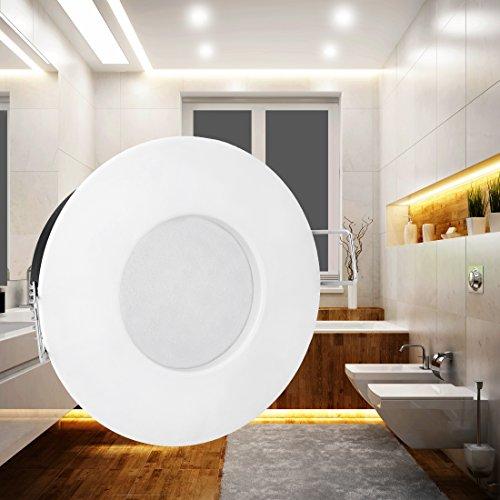 LED Einbau-Strahler Set [6 Stück] Decken-Leuchte, Typ RW-1 in weiß für Feuchträume Bad Dusche IP65, 6W WARM-weiß 230V [IHR VORTEIL: leichter EINBAU, tolle LEUCHTKRAFT, LICHTQUALITÄT und VERARBEITUNG] für Innen Außen – #980 - 3