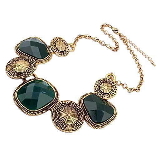 Yazilind Europäische wunderschöne Dark grün Strass Bronze Kette Kragen Lätzchen Temperament Halskette