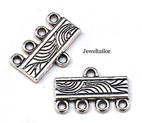 Jeweltailor 24 Piece 4 Strand Set For Multi Strand Designs ~ With 20 Spacer Bars & 4 Nickel & Lead Free End Beads For Creative Jewellery