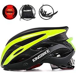 KING BIKE - Casco de Ciclismo + Mochila portátil para Casco/Visera Desmontable/luz Trasera de Seguridad/certificación CE (M/L; L/XL), Color Black&Green, tamaño XL:59-63CM
