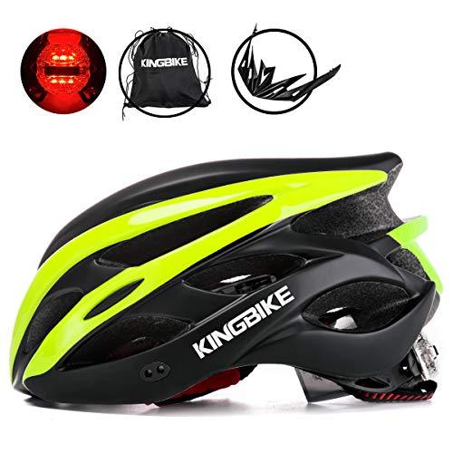 KING BIKE Fahrradhelm Helm Bike Fahrrad Radhelm mit LED Licht FüR Herren Damen Helmet Auf Die Helme Sportartikel Fahrradhelme GmbH RennräDer Mountain Schale Mountainbike MTB (Schwarz Grün, L(56-60CM))