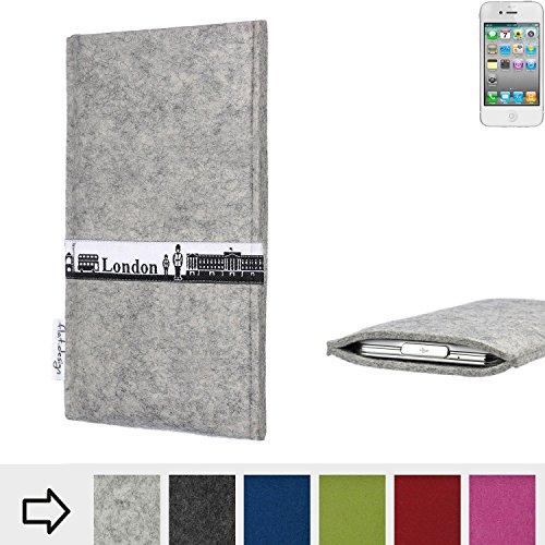 flat.design Filzhülle SKYLINE mit Webband London für Apple iPhone 4 - individuelle Handytasche aus 100% Wollfilz (anthrazit) - Case im Slim fit Design für Apple iPhone 4 hellgrau