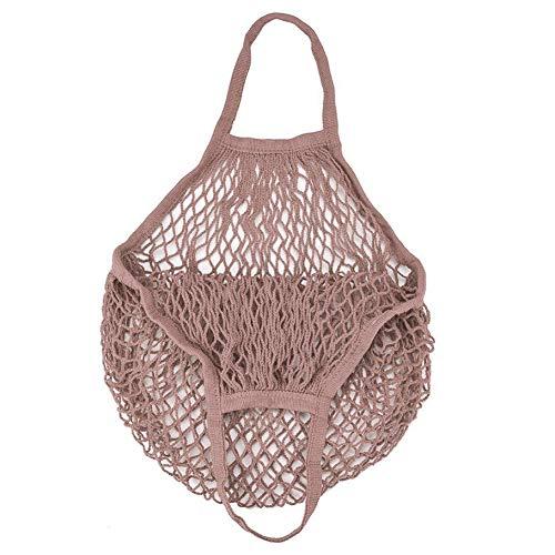 hefeibiaoduanjia Tragbare Einkaufstasche aus Netzstoff, Einkaufstasche, Obstgüter, Aufbewahrung, Baumwolle, tragbar, langlebig, Netz-Einkaufstasche, Baumwolle, Flesh Pink -