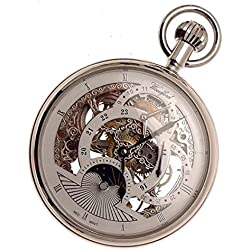 Silver Coloured Skeleton Pocket Watch Sun And Moon Dual Time Zone