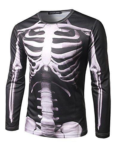 YCHENG Camisetas Hombre Manga Larga Estampada 3D Esqueleto Hip Hop T-shirt