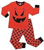 Charmo Kinder Schlafanzug Halloween Schläfer Baby Baumwolle Pyjama Cute Kürbis Langarm Nachtwäsche Kinder Party Kostüm 2 Stück PJS Sets Orange 7 Jahre