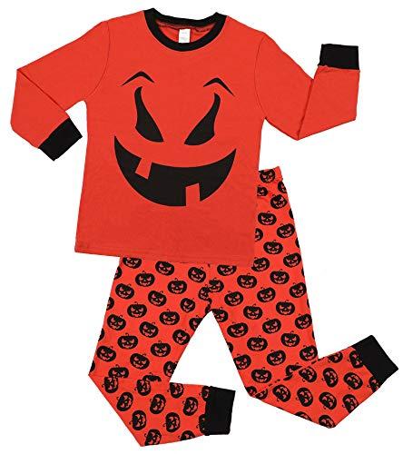 Charmo Jungen Schlafanzug Mädchen Halloween Pajamas Baumwolle Kürbis Nachtwäsche Langarm Bodys 2 Stück Pajama Winter Herbst Kostüm Orange 4 Jahre